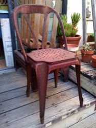 Patinated nesting chairs